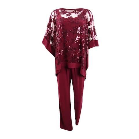 R&M Richards Women's Sequin-Embellished Poncho & Pants - Merlot