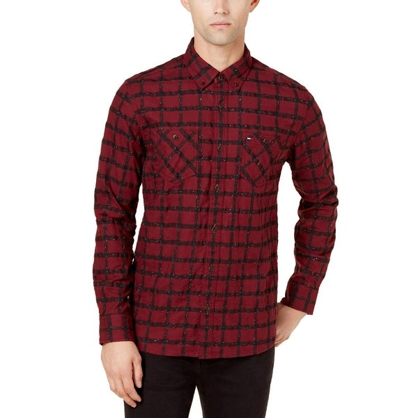 d947dd44 Shop Tommy Hilfiger Mens Button-Down Shirt Windowpane Custom Fit - Free  Shipping On Orders Over $45 - Overstock - 25859215