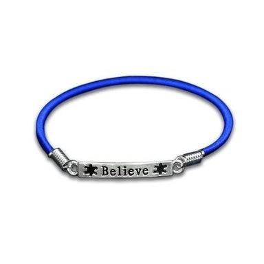 Autism and Aspergers Believe Stretch Charm Bracelet - Blue