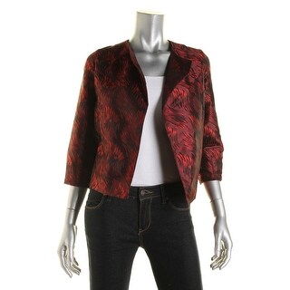 Anne Klein Womens Pattern 3/4 Sleeves Open-Front Blazer - 2