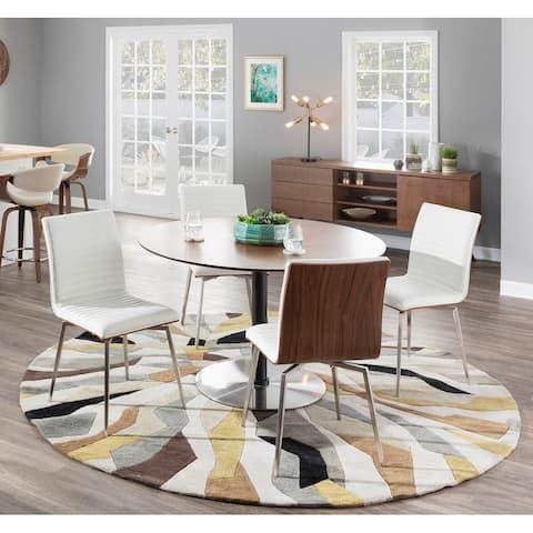 Mason Stainless Steel Wood Swivel Chair (Set of 2)