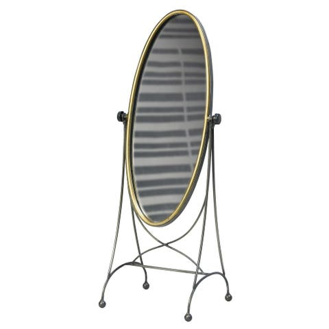 Oval Metal Frame Swiveling Vanity Mirror, Gold and Gray