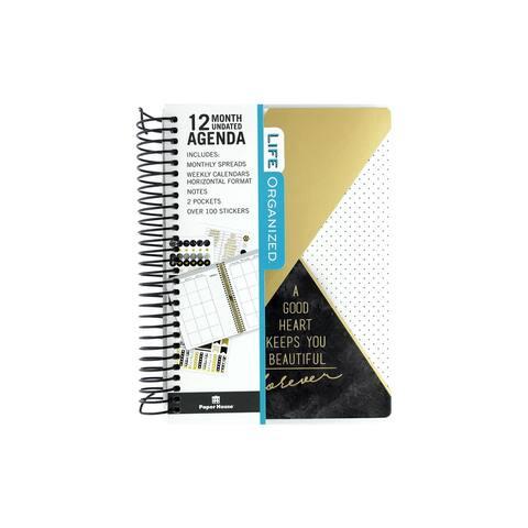 Paper House Life Org Planner Mini Geo Blk/Gld