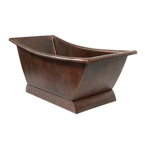 "Premier Copper Products BTSC67DB 67"" Hammered Copper Canoa Single Slipper Bathtub"