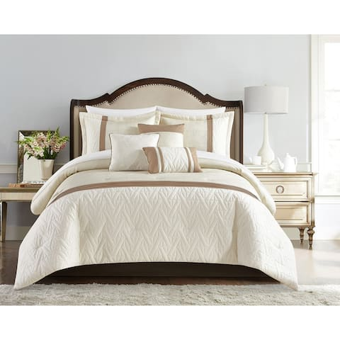 Chic Home Macy 6 Piece Comforter Set Jacquard Woven Geometric Design Pleated Quilted Details Bedding