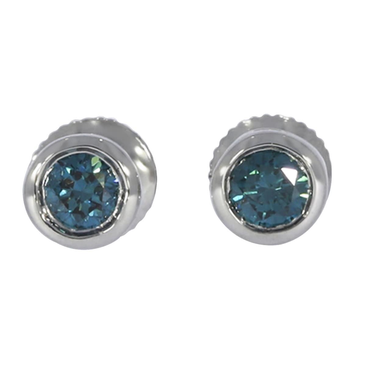 Prism Jewel Round Brilliant Cut Bezel Set Blue Diamond Screw Back Stud Earring - Thumbnail 0
