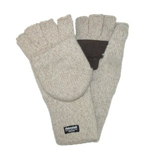 Dorfman Pacific Men's Wool Convertible Fingerless Gloves and Mittens - Oatmeal - One Size