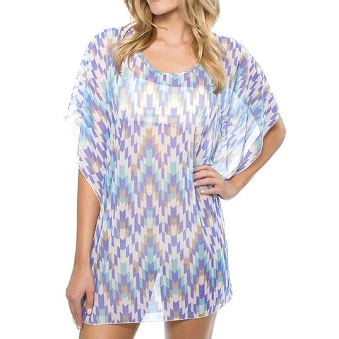 Athena Womens Swimwear Blue Size Large L Cover Up Desert Escape Tunic