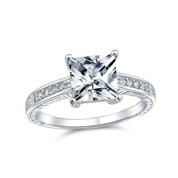 3CT Princess Cut Solitaire AAA CZ Engagement Ring 925 Sterling Silver. Opens flyout.
