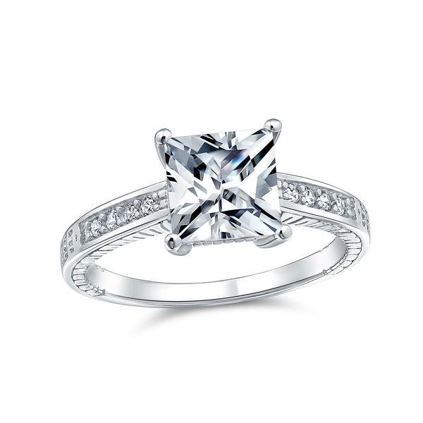 Shop 3ct Princess Cut Solitaire Aaa Cz Engagement Ring 925 Sterling Silver On Sale Overstock 17986811