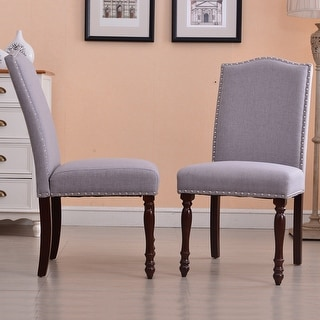 Belleze Set of 2 High Back Parson Chairs with Nailhead Padded Seat Backrest, Gray