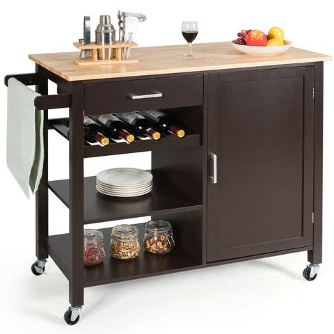 Gymax 4-Tier Wood Kitchen Island Trolley Cart Storage Cabinet w/ Wine Rack & Drawer