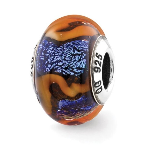 Italian Sterling Silver Reflections Blue with Orange Swirls Glass Bead (4mm Diameter Hole)