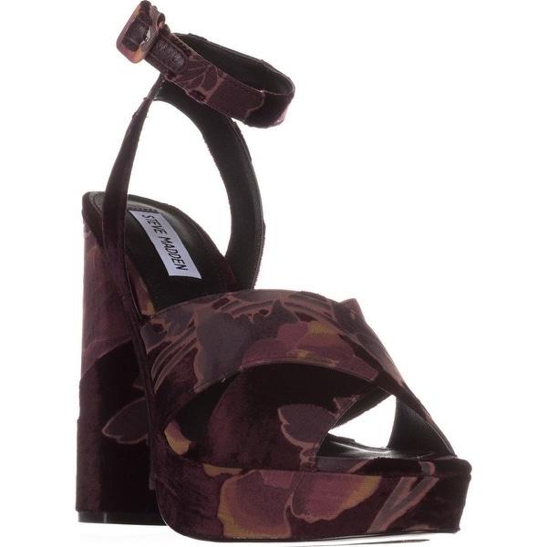 84bbd3a1f35e4 Shop Steve Madden Jodi Platform Sandals, Burgundy Velvet - On Sale ...