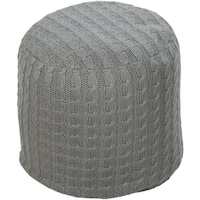 "18"" Light Gray Cable Knit Round Cotton Pouf Ottoman"