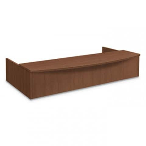 Foundation Reception Station With Bow Front, 72W X 36D X 14.25H, Shaker Cherry