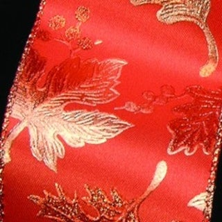 """Orange Background With Copper Leaves Wired Craft Ribbon 3"""" x 20 Yards"""