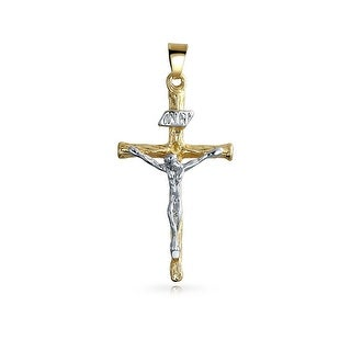 Gold Filled Two Tone Cross Crucifix Pendant Rhodium Plated