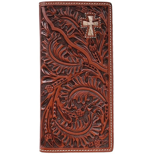 3D Western Wallet Men Leather Rodeo Checkbook Cross Tan - One size