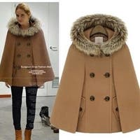 Womens Batwing Sleeve Hooded Coat +Gift Necklace