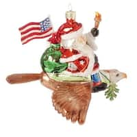 "6.5"" Patriotic American Army Santa Claus Glass Christmas Ornament"
