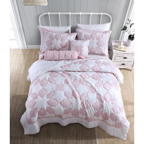 Heirloomed Flower Patch Pink 3-Piece Quilt Set