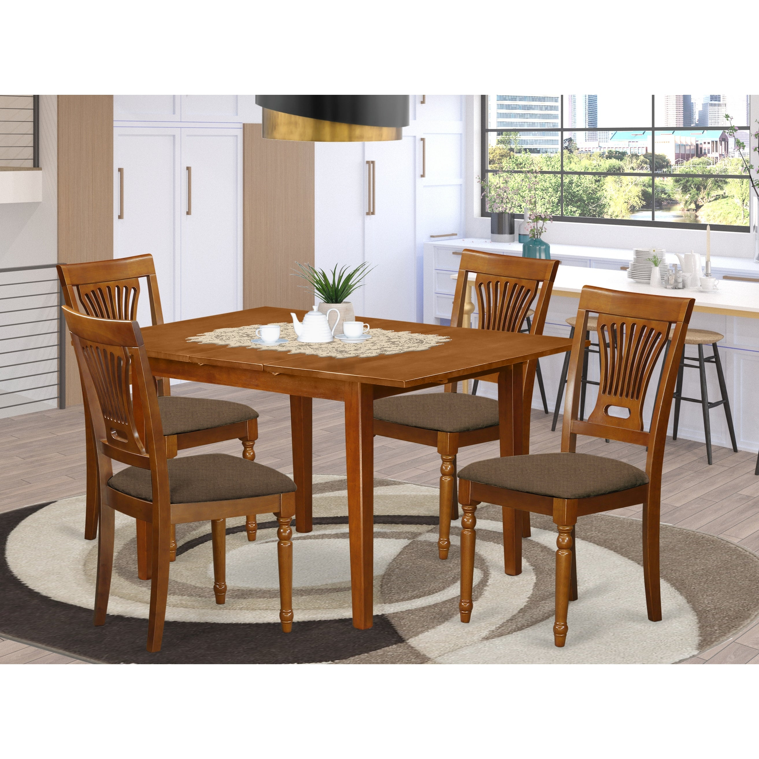 5 Piece Small Dining Table And 4 Kitchen Chairs Overstock 10296471 Mlpl5 Sbr C