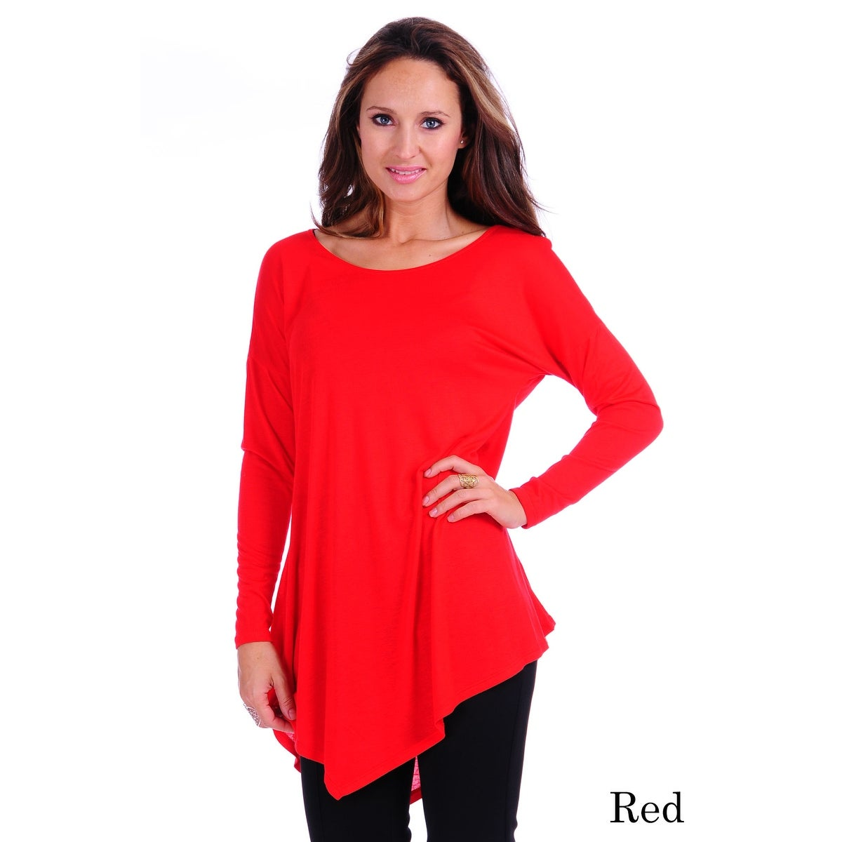 Simply Ravishing Women's Assymetrical Front/Back Handkerchief Hem Long Sleeve Tunic Top - Thumbnail 13