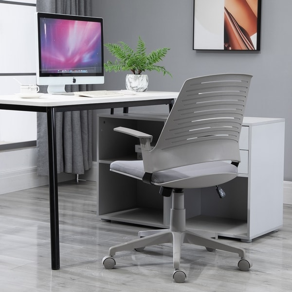 Vinsetto Middle Back Office Computer Swivel Rolling Chair with Height Adjustable Comfort and Padded Armrests, Grey. Opens flyout.