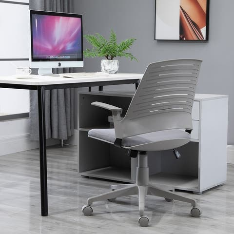 Vinsetto Middle Back Office Computer Swivel Rolling Chair with Height Adjustable Comfort and Padded Armrests, Grey