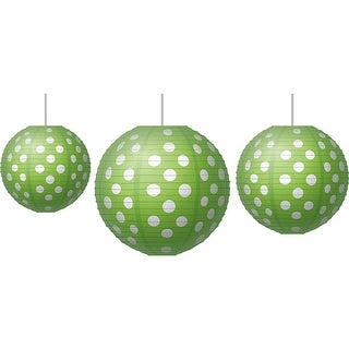 Paper Lanterns Lime Polka Dots