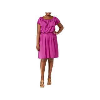 NY Collection Womens Plus Casual Dress Off-The-Shoulder Keyhole