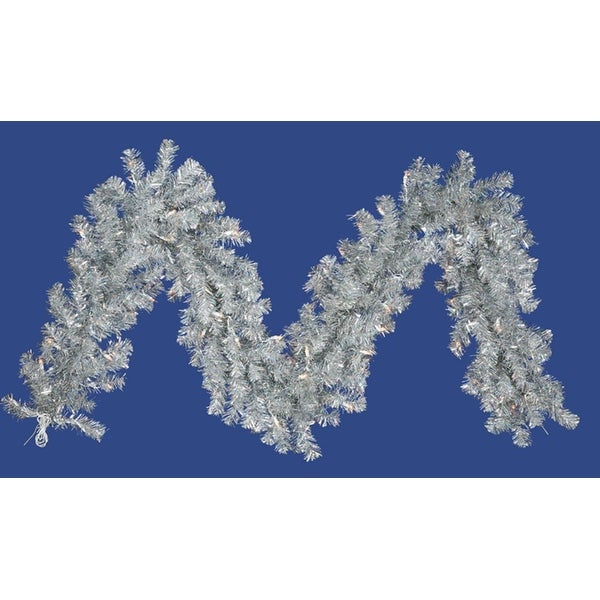 "9' x 12"" Pre-Lit Silver Tinsel Artificial Christmas Garland - Clear Lights"