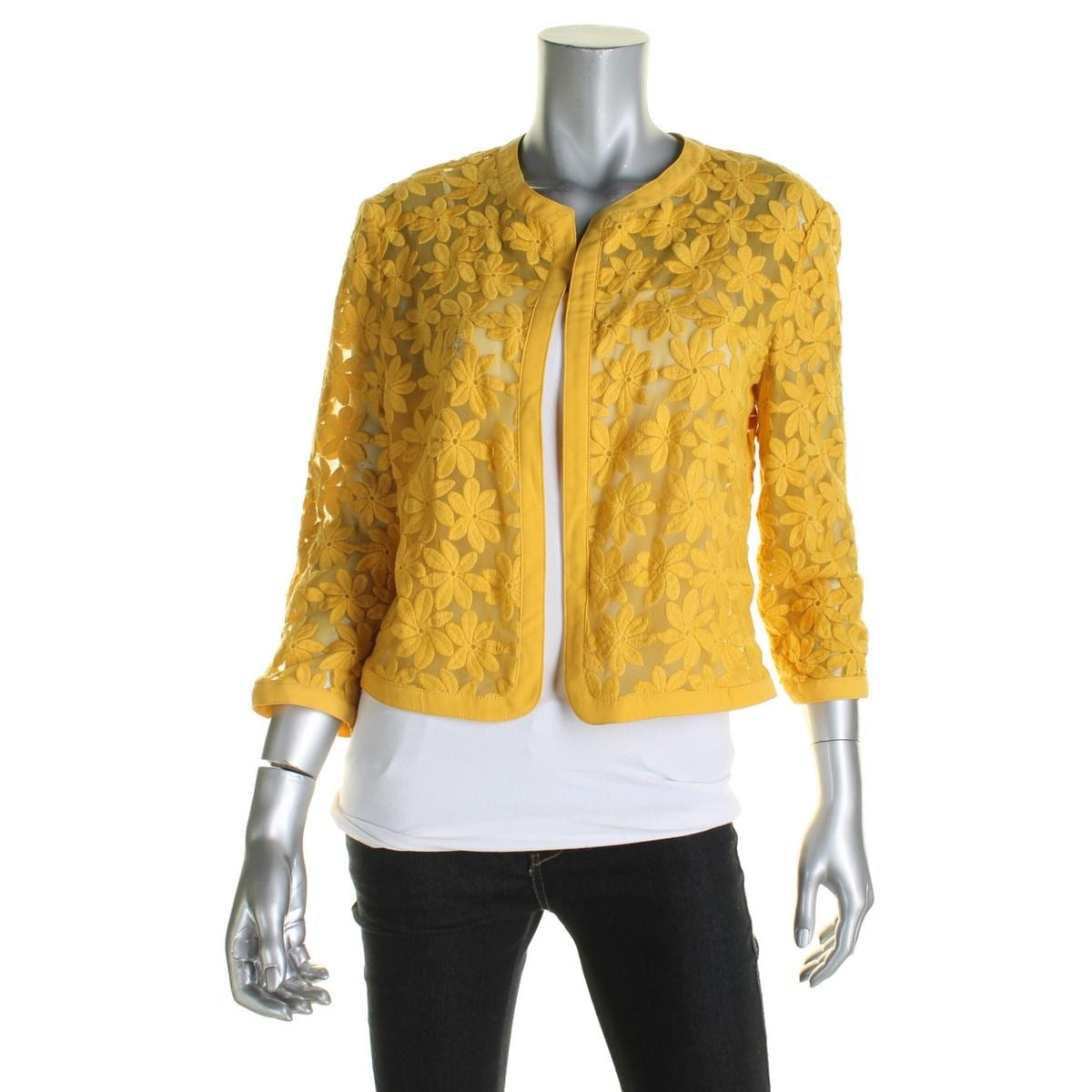 Anne Klein Womens Cardigan Top Mesh Embroidered