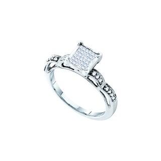 1/4Ctw Princess Diamond Ladies Invisible Ring White-Gold 14K
