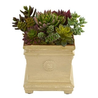 Nearly Natural Mixed Succulent Artificial Plant in Decorative Vase