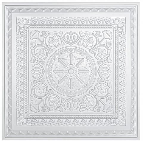 Art3d 2x2 PVC Decorative Suspended ceiling Tile, Glue-up Ceiling Panel Victorian Pattern in Matt White (12-Pack)