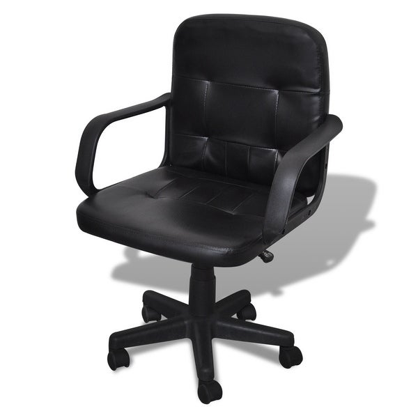 vidaXL Luxury Leather Office Chair Height Adjustable Swivel Black