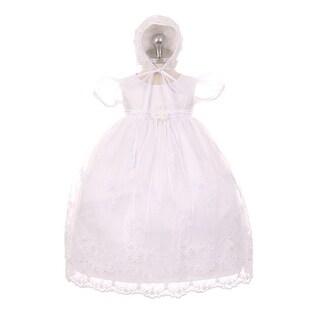 Kids Dream Baby Girls White Organza Pearls Sequins Christening Dress 3-24M
