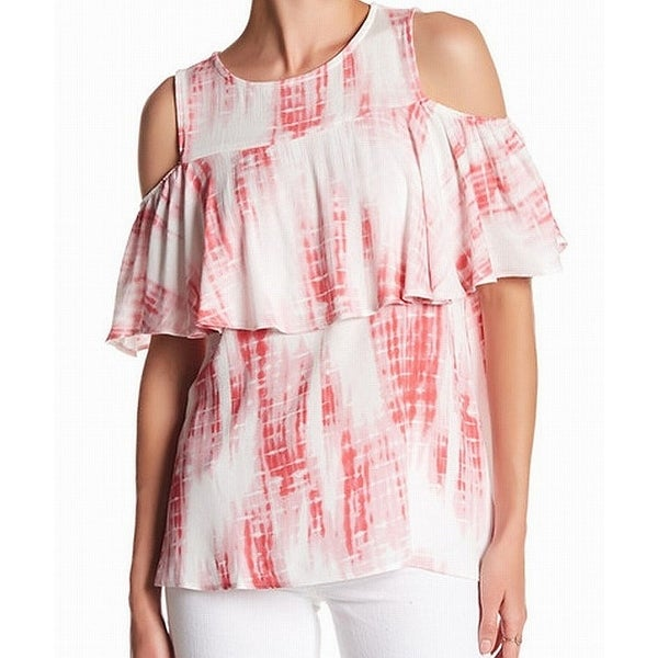 37b605a35fc6e Shop Bobeau Pink White Women s Size Medium M Tie-Dye Cold-Shoulder Blouse -  Free Shipping On Orders Over  45 - Overstock - 22533276