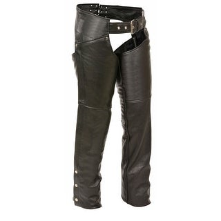 Womens Leather Thigh Pocket Chaps Reflective Piping (Option: Large)