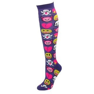 CTM® Women's Emoji Print Novelty Knee High Socks (2 options available)