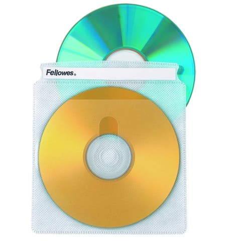Fellowes Inc. 90659 Fellowes Double-Sided CD/DVD Sleeves - 50 pack - Plastic - Clear - 2 CD/DVD
