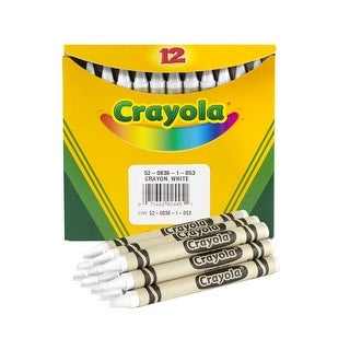 Crayola Non-Toxic Regular Single-Color Crayon Refill, 5/16 X 3-5/8 in, White, Pack of 12