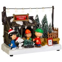 """7"""" Vibrantly Colored Peanuts Musical Animated Christmas Trees Themed Table Piece"""