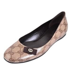 Gucci 317040 Crystal Canvas GG Guccissima Ballerina Flats Shoes 37 7