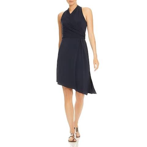 Halston Heritage Womens Wrap Dress Sleeveless Daytime - Dark Navy
