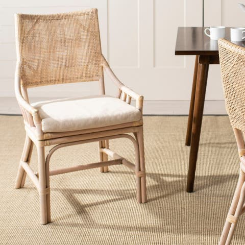 "SAFAVIEH Donatella Coastal Rattan Cushion Chair - 22"" W x 24"" L x 37"" H"