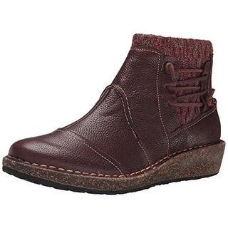 Aetrex Womens Tessa Leather Knit Trim Wedge Boots - 35 medium (b,m)