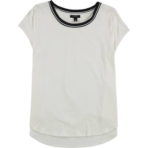 Alfani Womens Stripe Trim Basic T-Shirt, White, Large